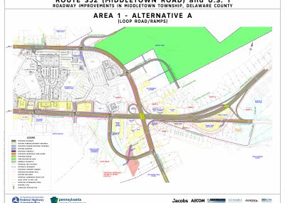 This image, area 1 alt a, shows the proposed changes at the interchange, including the installation of loop road and ramps, that will take place if alternative a is chosen for area 1.