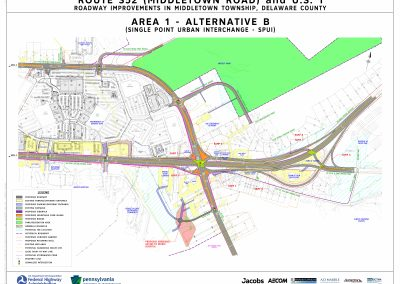 This image, area 1 alt b, shows the proposed changes at the interchange, including the installation of a single point urban interchange, that will take place if alternative b is chosen for area 1.