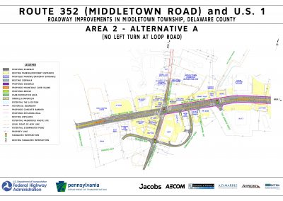 This image, area 2 alt a, shows the proposed changes that will take place at the route 452 / u.s. 1 intersection, excluding a left turn at loop road, if alternative a is chosen for area 2.