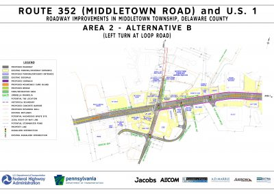This image, area 2 alt b, shows the proposed changes that will take place at the route 452 / u.s. 1 intersection, including adding a left turn at loop road, if alternative b is chosen for area 2.
