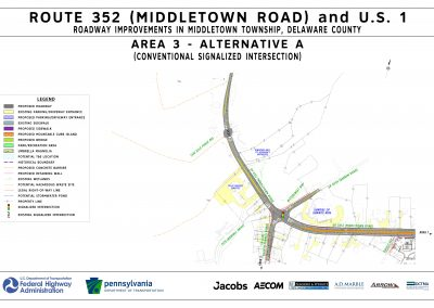 This image, area 3 alt a, shows the proposed changes that will take place at the route 452 / route 352 intersection, including the installation of a conventional signalized intersection, if alternative a is chosen for area 3.