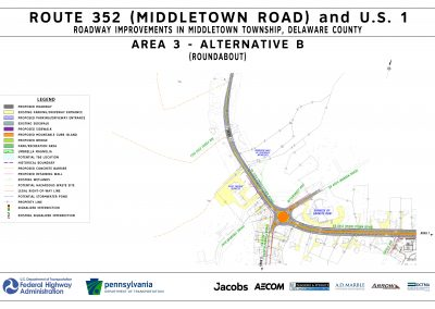 This image, area 3 alt b, shows the proposed changes that will take place at the route 452 / route 352 intersection, including the installation of a roundabout, if alternative b is chosen for area 3.