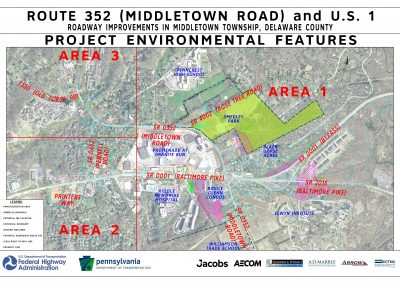 This image, environmental constraints, shows the project's environmental features for each of the three project areas.