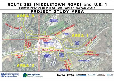 This image, project study area, shows all three sections of the project study area.